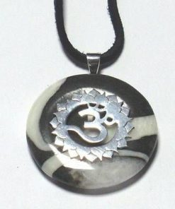 Chakra Sahasrara din argint cu agat, pe siret negru