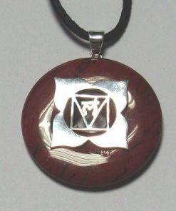 Chakra Muladhara din argint cu carneol pe siret negru