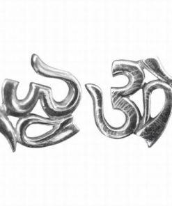 Cercei Om/Tao din argint rodiat