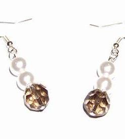 Cercei tip perle cu cristale multifatetate tip cuart fumuriu