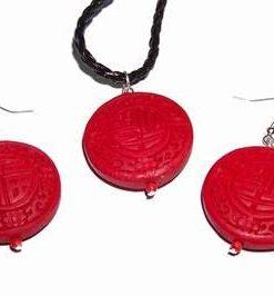 Set Feng Shui din cinabru pe siret impletit, negru