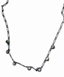 Colier din metal nobil negru cu strasuri
