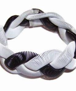 Bratara din metal spiralat - alb si negru