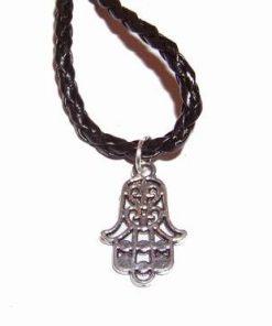Palma lui Fatima din metal nobil pe siret negru