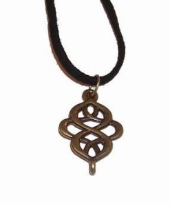 Talisman din alama cu nod mistic stilizat