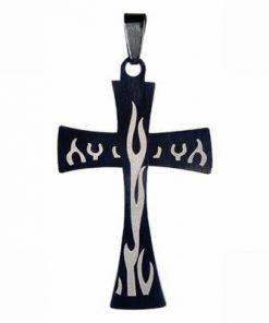 Cruce, din inox, neagra, pe siret