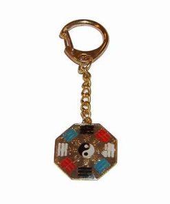 Breloc auriu in forma de Ba Gua cu trigrame si Yin-Yang