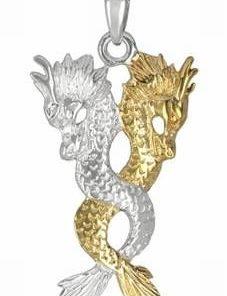 Talisman din cupru argintat cu pereche de dragoni