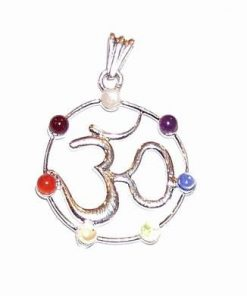 Pandantiv cu cele 7 chakre si simbolul Tao/Om - argintat
