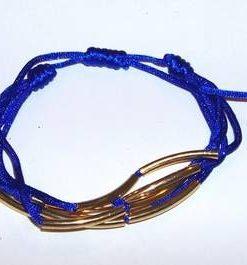 Bratara reglabila bleu, cu decoratiuni aurii