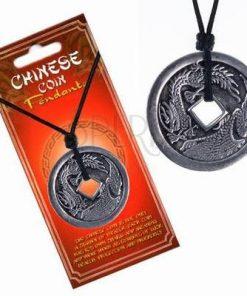 Talisman din cositor cu Pasarea Phoenix si Dragon