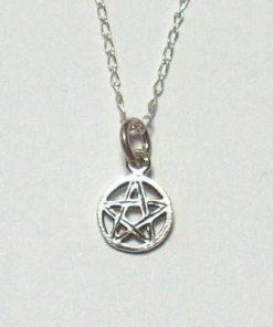 Pentagrama magica  argintata pe lant din argint
