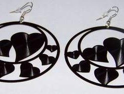 Cercei fantezie cu simboluri de dragoste - negri